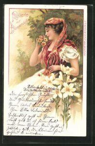 Duft-AK Schöne Frau in Tracht riecht an Blumen, Weisse Lilien