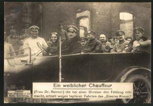 Riesen-AK Frau Dr. Reimer Fahrerin einer Division erhielt wegen tapferer Fahrten das Eiserne Kreuz