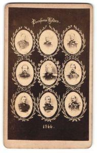 Fotografie Preussen's Helden 1866, Kaiser Wilhelm I., General Moltke, Kronprinz Friedrich Wilhelm III. u.a.