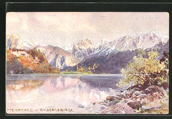 Künstler-AK Edward Harrison Compton: Hechtsee mit Kaisergebirge