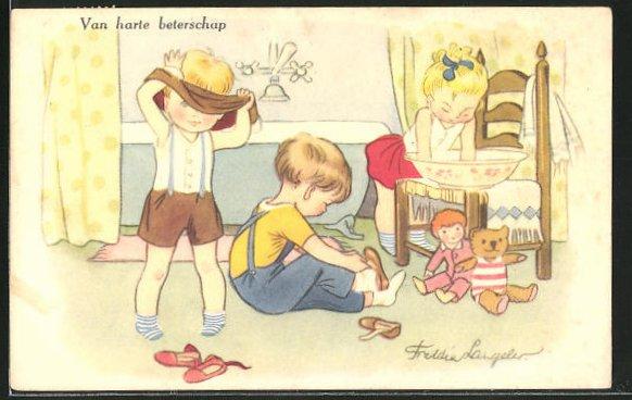Künstler-AK Freddie Langeler: Van harte beterschap, Kinder, Puppe & Teddy