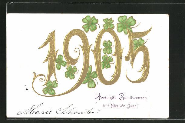 Präge-AK Jahreszahl 1905 mit Klee