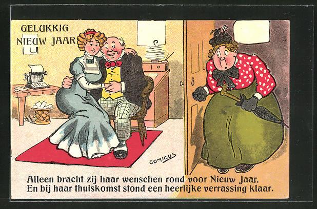 AK dicke Frau erwischt ihren Mann mit junger Dame