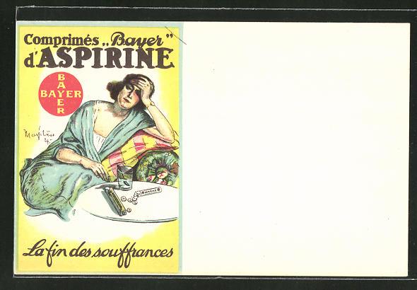 AK Medikament Aspirin, Reklame, Dame mit Kopfschmerzen auf dem Sofa und Tabletten vor sich auf dem Tisch