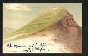 Künstler-AK Killinger Nr. 103: Blick auf das Faulhorn, Berg mit Gesicht / Berggesichter