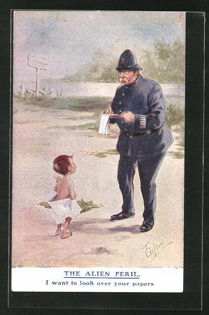Künstler-AK T. Gilson: Polizist befragt einen kleinen Jungen