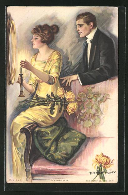 Künstler-AK F. Earl Christy: Junges Paar bei Kerzenschein