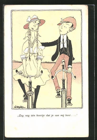 Künstler-AK T. Welzl: Verliebtes Paar mit Fahrrädern