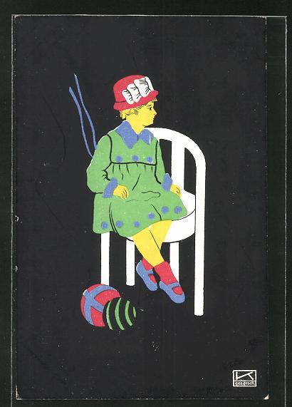 Künstler-AK Hilde Kallenbach: Mädchen auf einem Stuhl