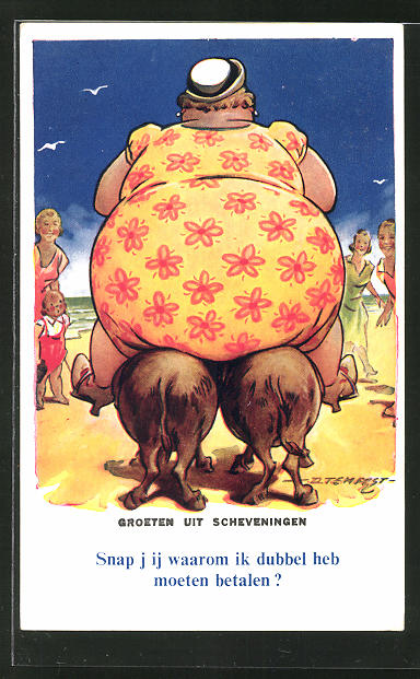Künstler-AK Douglas Tempest: Beleibte Dame reitet auf zwei Eseln zum Strand