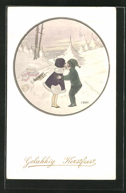 Künstler-AK Anny Tekauz: Kinderpaar küsst sich im Schnee