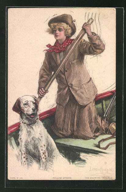 Künstler-AK Lester Ralph: Frau mit Hund im Ruderboot