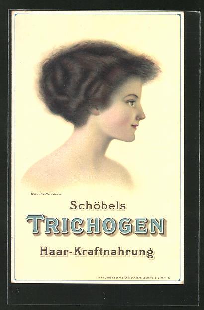 Lithographie Schöbels Trichogen, Medikament für Haar-Kraftnahrung, Dame im Seitenportrait