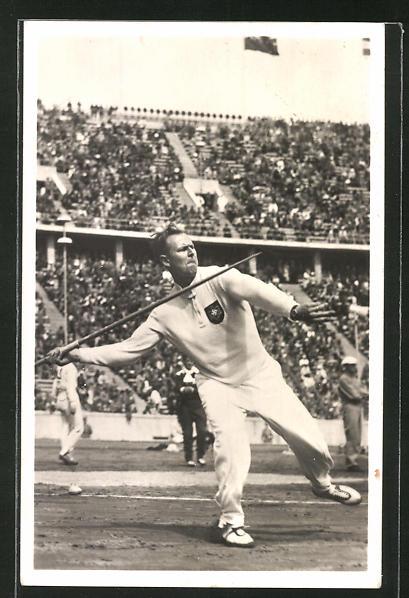AK Berlin, Olympische Spiele 1936, Speerwerfer Stöck erringt die Goldmedaille