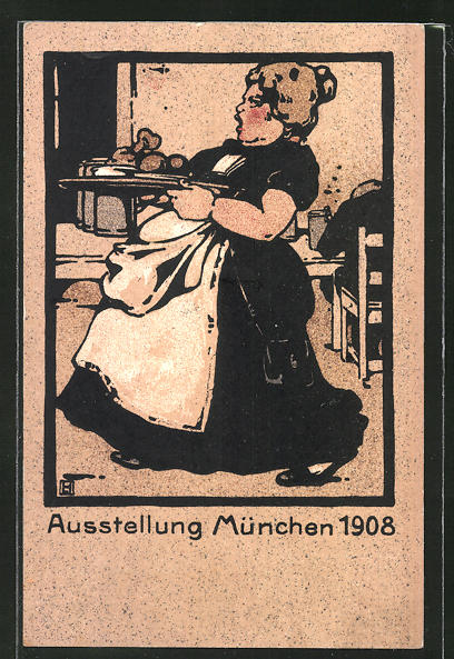 Künstler-AK Ludwig Hohlwein: München, Aussstellung 1908, Serviererin, Oberin, Schankmaid