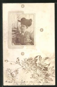 Foto-AK Dame mit Hut, Passepartout