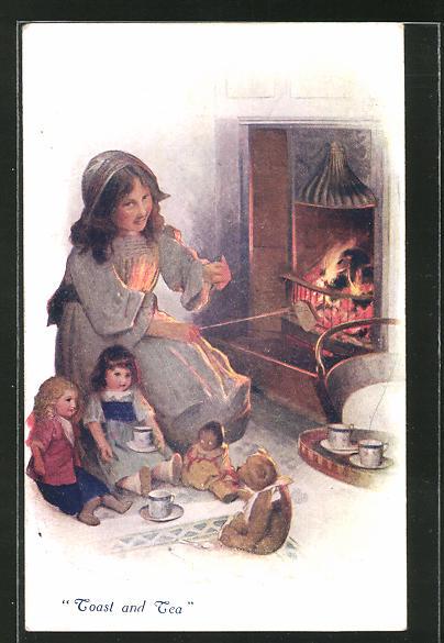 AK Toast and Tea, Mädchen mit Teddy und Puppen