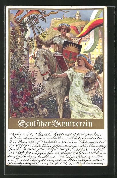 Künstler-AK Karl Friedrich Gsur: Deutscher Schulverein Nr. 106, Ritter zu Ross und Maid mit Helm