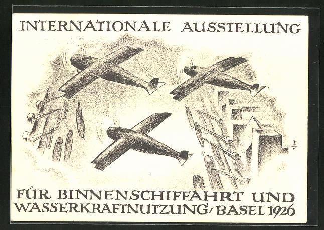 Künstler-AK Basel, Intern. Austellung für Binnenschiffahrtund Wasserkraftnutzung 1926, Flugzeuge