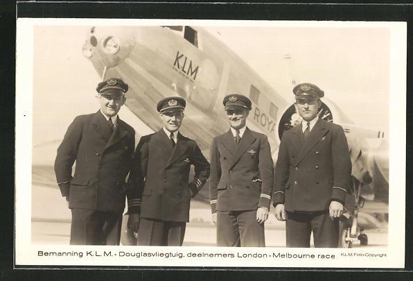 AK Mannschaft einer KLM-Douglas, Passagierflugzeug