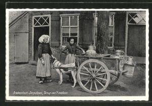 AK Brabantsch-Dorpsleven, Terug van't melken, niederländische Frauen mit Milchbottichen auf dem Hundegespann