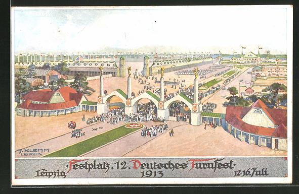 AK Leipzig, der Festplatz beim 12. Deutschen Turnfest 1913