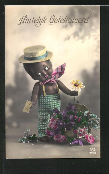 AK afrikanische Puppe bei der Gartenarbeit