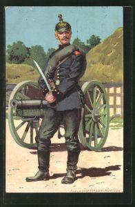 Künstler-AK Anton Hoffmann - München: Soldat des Kaiserreiches posiert mit Bajonett vor einer Kanone