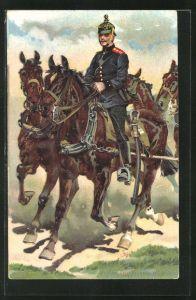 Künstler-AK Anton Hoffmann - München: Soldat des deutschen Kaiserreiches mit Pickelhaube zu Pferd