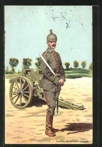 Künstler-AK Anton Hoffmann - München: Soldat im Kaiserreich mit Pickelhaube vor einer Kanone