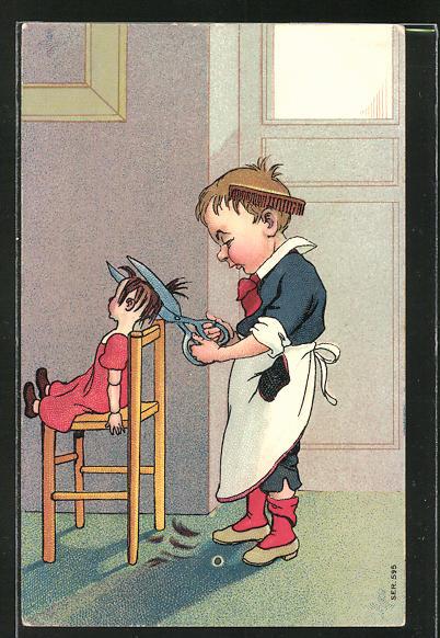 Künstler-AK Kleiner Junge spielt Friseur und schneidet einer Puppe die Haare ab