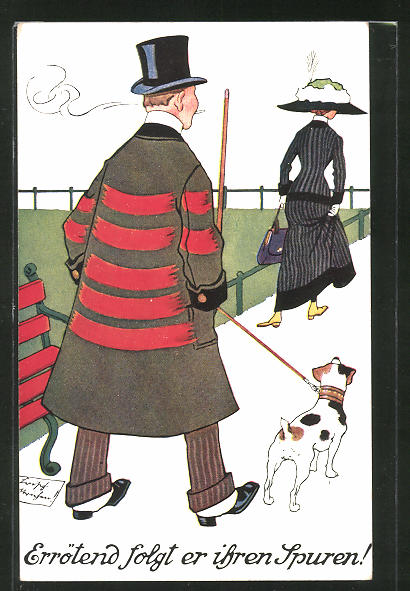 Künstler-AK Mann mit Zyliner und Hund folgt junger Dame mit Hut