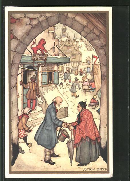 Künstler-AK Anton Pieck: Voor Het Kind 1938, Dorfleben im Winter mit Gasthaus und Schneemann