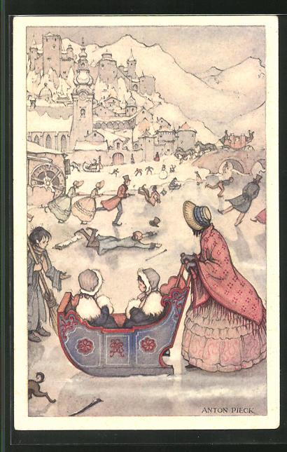 Künstler-AK Anton Pieck: Voor het Kind 1936, Ijsvermaak, Winterfreuden mit Schlitten und Schlittschuh