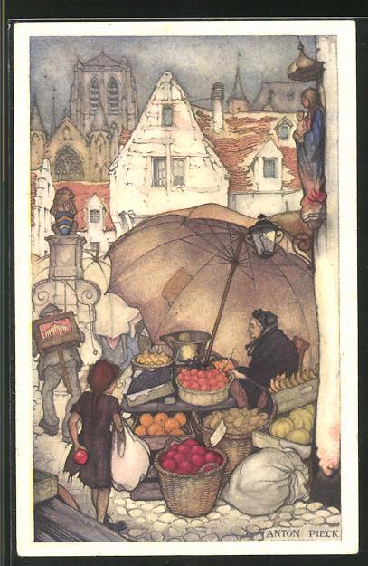 Künstler-AK Anton Pieck: Voor het Kind 1936, Appelmarkt, Marktstand mit Obstverkäuferin