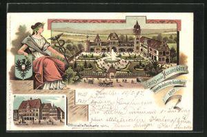 Lithographie Heilbronn, Gewerbe- u. Industrie-Ausstellung 1897, Ausstellungsgelände aus der Vogelschau