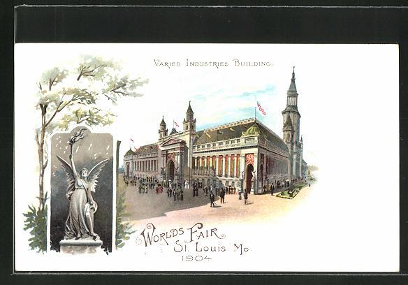 Lithographie St. Louis, Mo., Worlds Fair 1904, Varied Industries Building, Ausstellung
