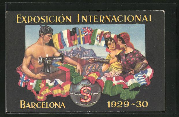 AK Barcelona, Exposicion Internacional 1929-30, Mann an der Singer-Nähmaschine