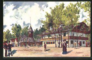 Künstler-AK Ulf Seidl: Wien, 1. Internationale Jagd-Ausstellung 1910, Jagdhaus Sr. Durchlaucht Fürst Hohenlohe