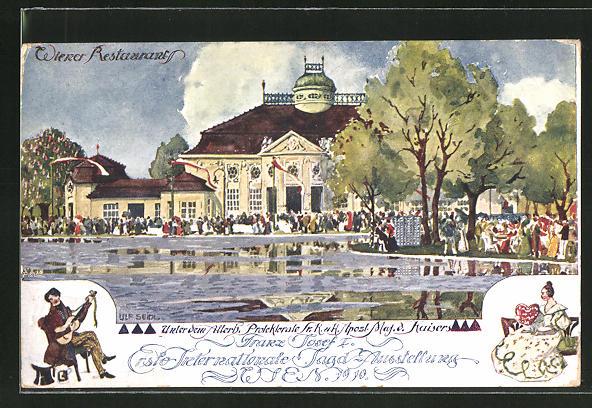Künstler-AK Ulf Seidl: Wien, 1. Internationale Jagd-Ausstellung 1910, Besucher am Wiener Restaurant
