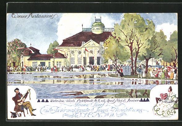 Künstler-AK Ulf Seidl: Wien, 1. Internationale Jagd-Ausstellung 1910, Wiener Restaurant