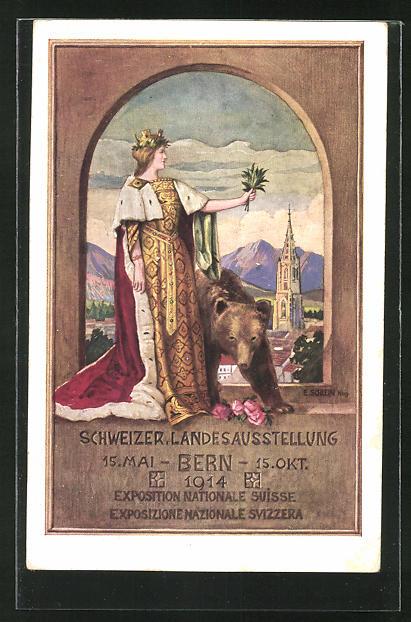 AK Bern, Schweizer. Landes-Ausstellung 1914, Helvetia mit Bären
