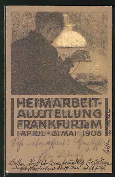 AK Frankfurt / Main, Heimarbeit-Ausstellung 1908, Frau mit Nähzeug unter einer Lampe