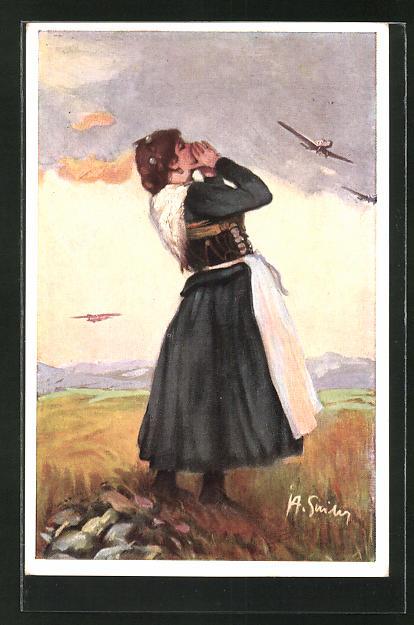 AK München, Deutsche Verkehrs-Ausstellung 1925, Frau betrachtet die Flugzeuge am Himmel