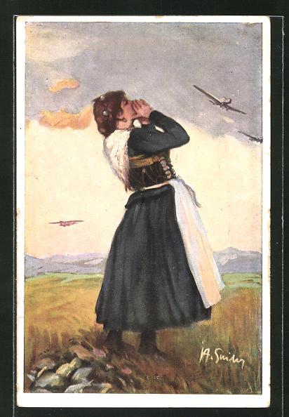 AK München, Deutsche Verkehrs-Ausstellung 1925, Frau betrachtet Flugzeuge am Himmel