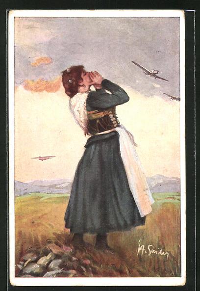 AK München, Deutsche Verkehrs-Ausstellung 1925, Frau in Tracht beobachtet Flugzeuge am Himmel
