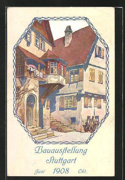 AK Stuttgart, Bauausstellung 1908, Häuserpartie