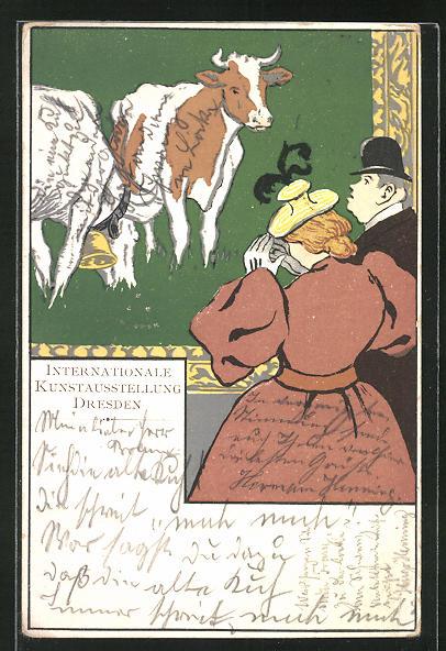 Lithographie Dresden, Internationale Kunstausstellung, Paar betrachtet Bild mit Kühen