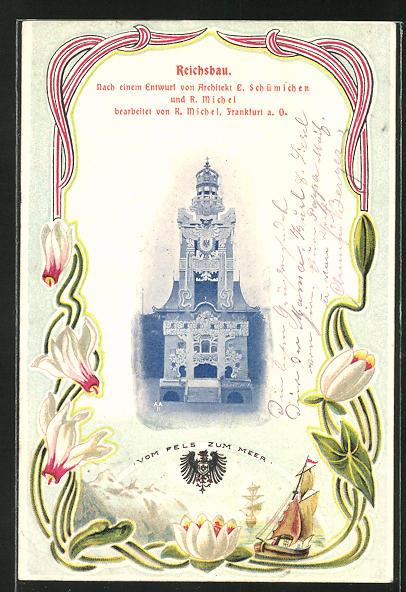 Lithographie Dresden, Deutsche Bau-Ausstellung 1900, Reichsbau nach einem Entwurf d. Architekten Schümichen