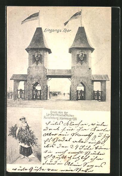 AK Hannover, Landwirtschaftliche Ausstellung 1903, Eingangstor